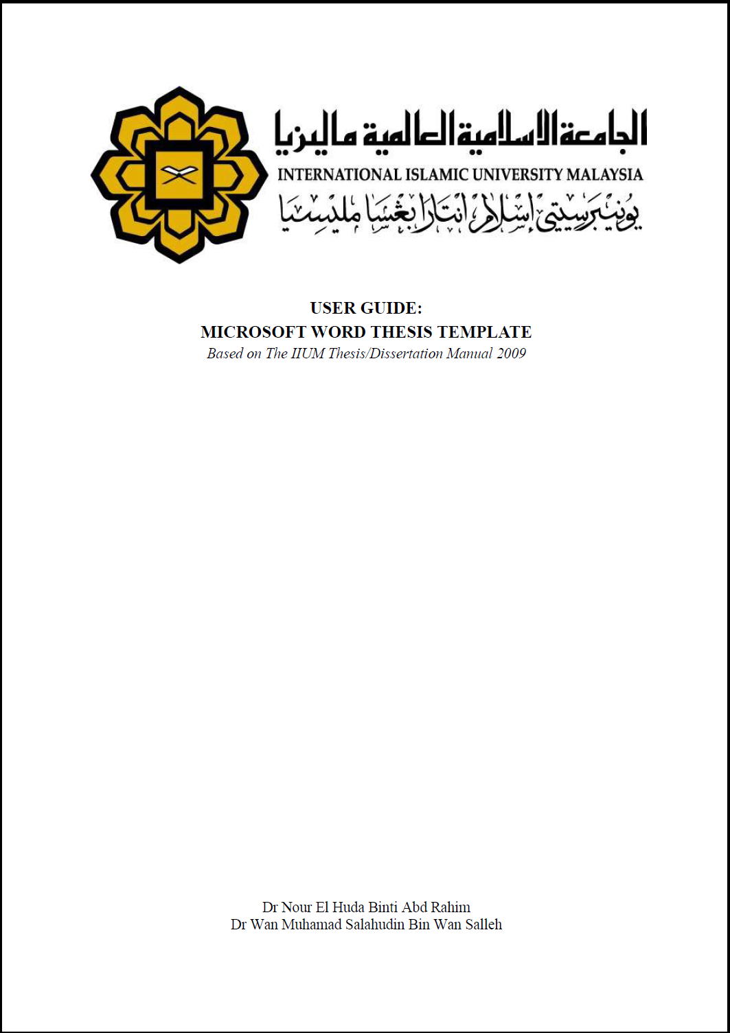 iium thesis manual